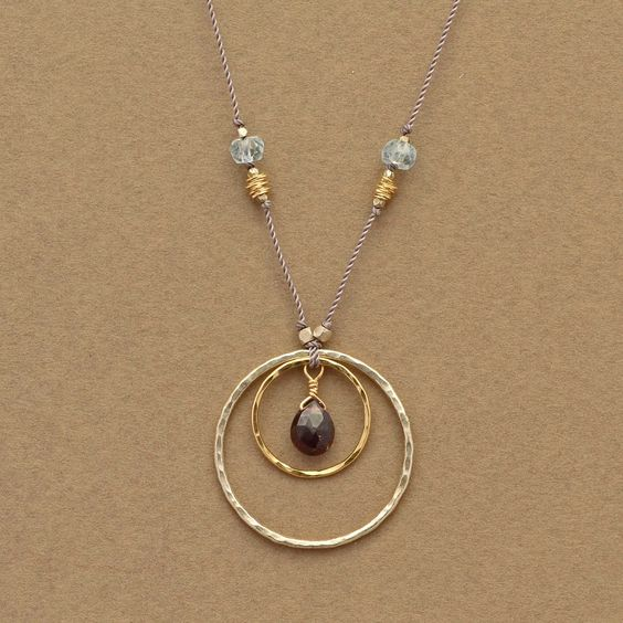 Circle necklace, Garnet and Handmade jewelry on Pinterest
