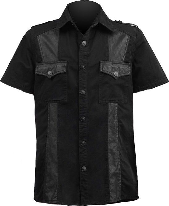 A black cotton button-down shirt with faux-leather accents, from ...