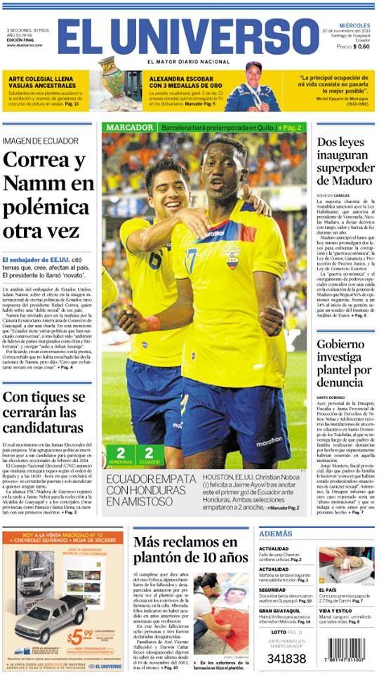 Portada de #DiarioELUNIVERSO del miércoles 20 de noviembre del 2013. Las noticias del día en: www.eluniverso.com