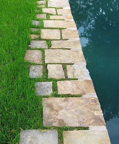 Flat Stone Edging: Pool With Stone Edging