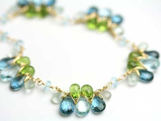 Blue Topaz Peridot Aquamarine Gem Weave Necklace by fussjewelry, $422.00