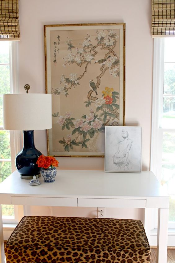 Long-Term Love: My White Parsons Desk (leopard bench, navy lamp, Chinese silk painting, sketch art, blue and white, bamboo shades, blush pink walls, paint color):