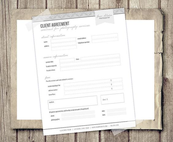 Client Agreement Form for Photographers - Photography Business - business agreement form