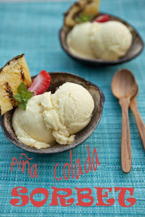 Pina Colada Sorbet from @FoodForMyFamily | recipe at TidyMom.net