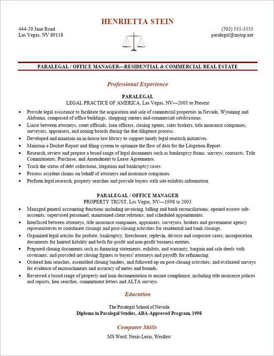 Litigation Paralegal Resume Template - Http://Www.Resumecareer