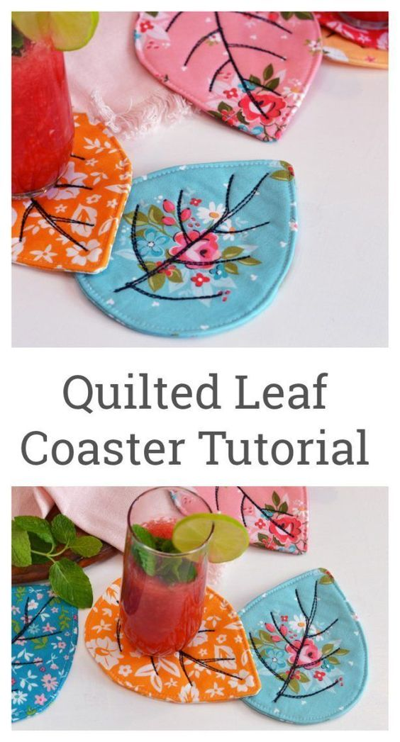 Quilted Leaf Coaster Tutorial by Sedef Imer | Diary of a Quilter - a quilt blog