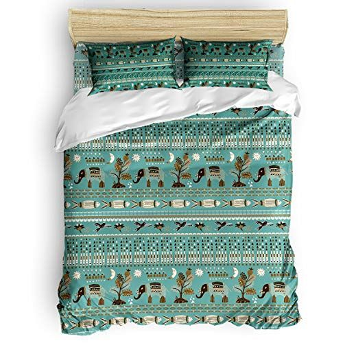 Bmall Duvet Cover Set King Size Boho Style Geometric Elephant