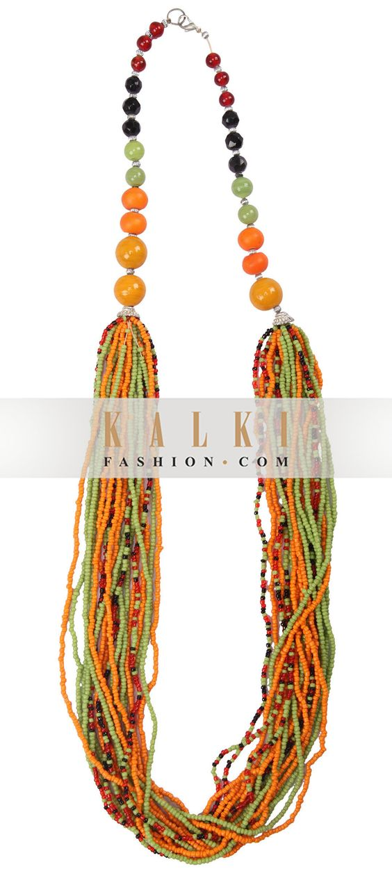 Buy Online from the link below. We ship worldwide http://www.kalkifashion.com/multi-color-seed-beaded-necklace-only-on-kalki.html