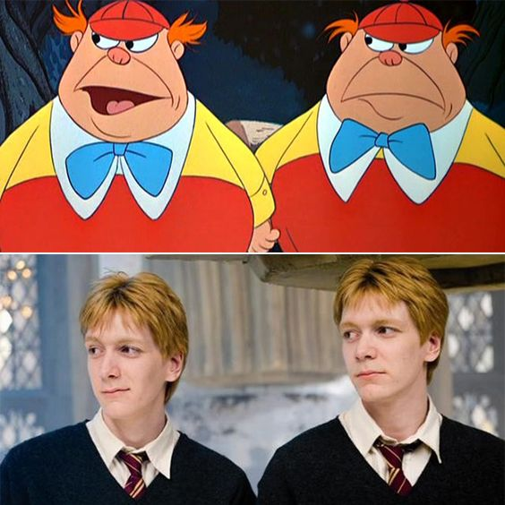 Image result for tweedle dee and tweedle dum fred and george