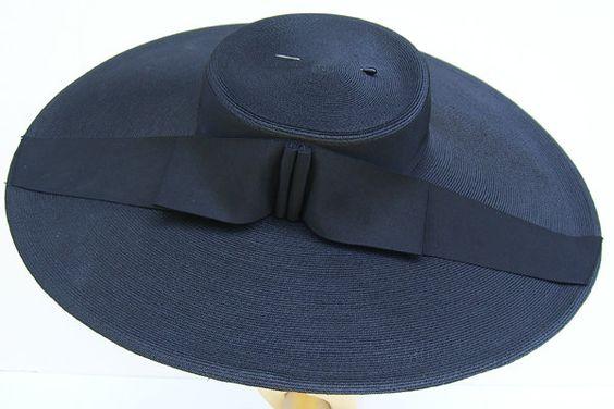 Vintage Lord and Taylor Womens Widebrim Black Hat. $225.00, via Etsy.