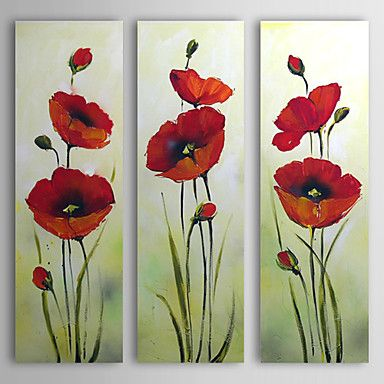 Hand Painted Oil Painting Floral Red Flower with Stretched Frame Set of 3 – USD $ 99.99