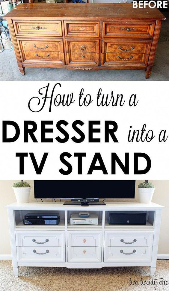 GREAT step-by-step tutorial on how to turn an old dresser into a TV stand! Total cost: $83! #furnituredesign