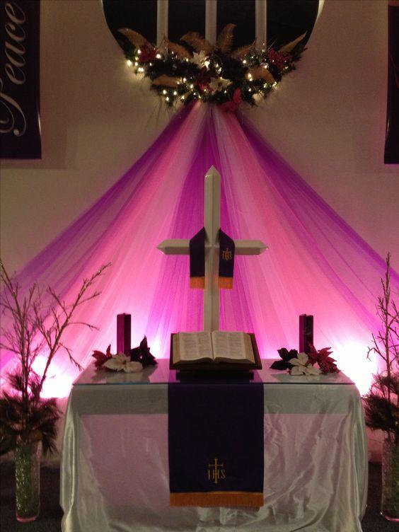 Advent and christmas sanctuary decor sanctuary for Advent decoration ideas