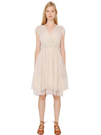 Blugirl techno Swiss dot tulle and lace dress