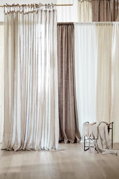 2 Pack Linen Curtain Panels Light Beige Home All H M Us 1
