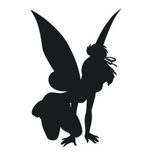 Tinkerbell silhouette view detailed images 1 fairies for Black and white tinkerbell