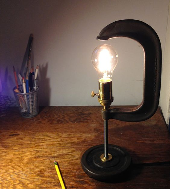 industrial upcycled desk lamp c clamp light by catskillsvintage