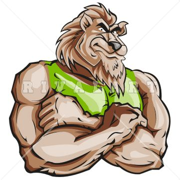 Mascot Clipart Image of A Muscular Lion With His Arms ...