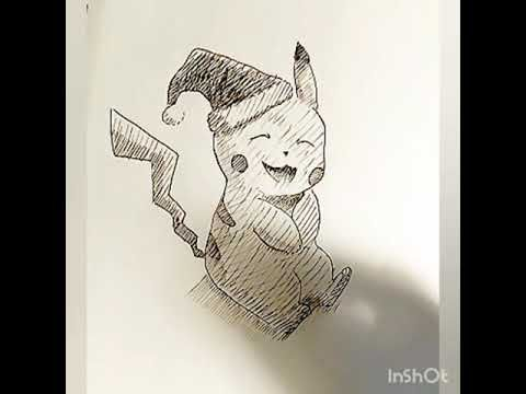 How To Draw Pikachu With A Christmas Hat Pokemon Art Speed Drawing Pikachu Pen Ink Christmas Santa Youtube Etsy Painting Etsy Artwork Pokemon Art