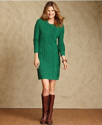 Tommy Hilfiger Dress, Long-Sleeve Cable-Knit - Womens Sweater ...