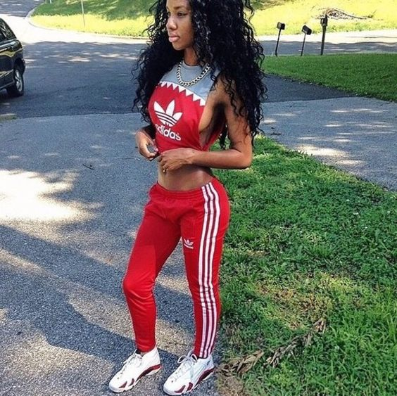 red adidas pants outfit