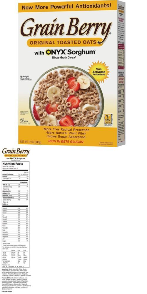 Cereals And Breakfast Foods 62717 Grain Berry Antioxidants Whole Grain Cereal Toasted Oats 12 Oz Case Of 6 Toasted Oats Whole Grain Cereals Whole Grain