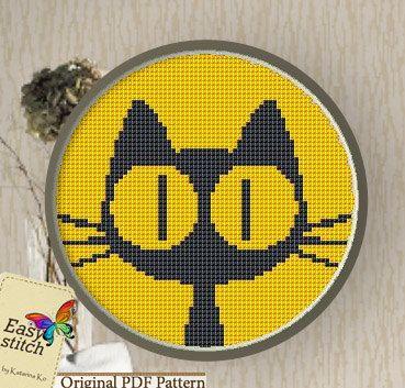 Yellow Cat.Cross stitch Pattern PDF by EASY8STITCH on Etsy, ฿158.00