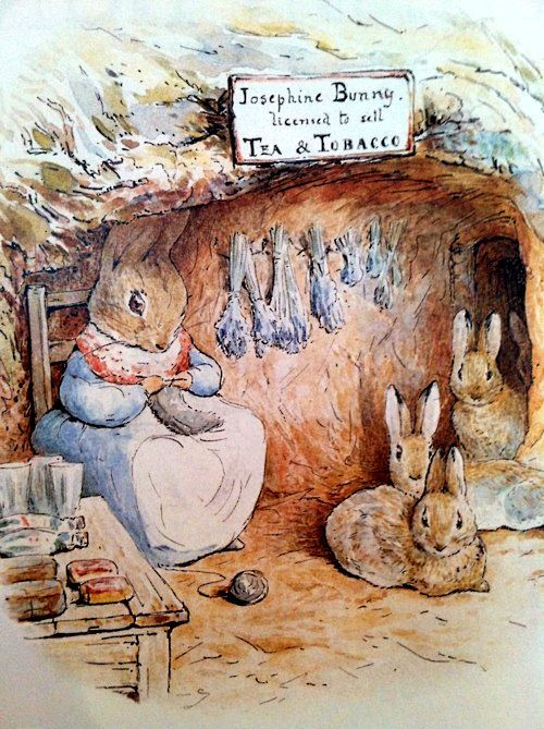 "'The Tale of Benjamin Bunny', 1904 -- Beatrix Potter. Mrs. Josephine Rabbit at her shop with Peter Rabbit's sisters Flopsy, Mopsy, and Cottontail. Book dedication: ""To The Children Of Sawrey From Old Mr. Bunny"""