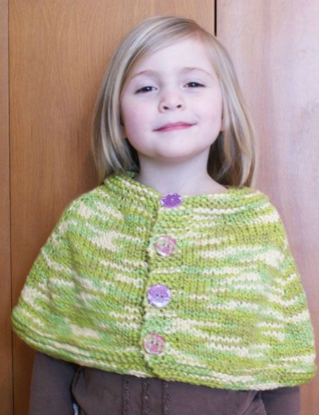 FREE PATTERN - Cute Childs Knitted Button-Up Poncho (Source : http://www...