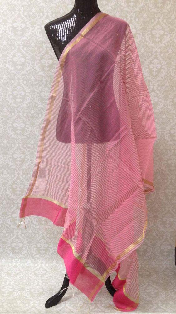 Chanderi Woven Silk Dupatta - Light Pink
