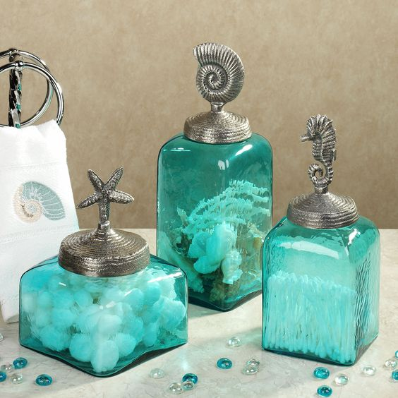 Sealife glass canister set aqua set of three my style for Turquoise blue bathroom accessories