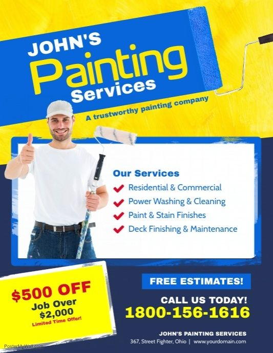 Painting Services Flyer Poster Template With Images Painting