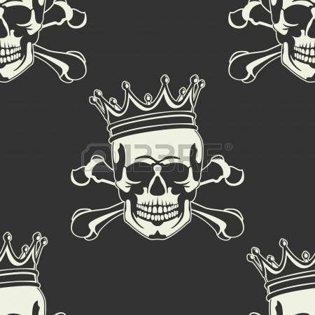 wallpaper crown: El vector de imagen del emblema con el cráneo y la corona sin…