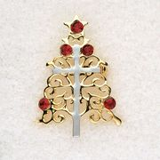 Christmas Tree with Cross Lapel Pin