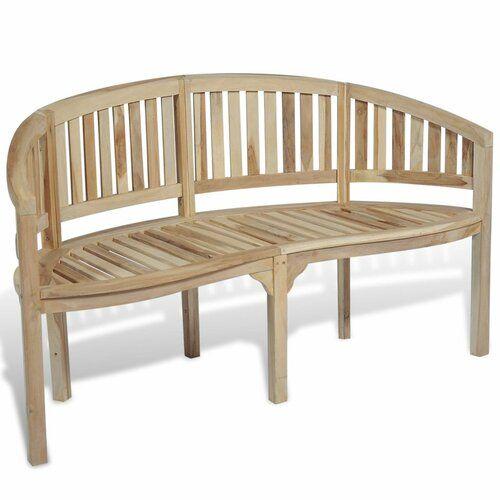 Berkfield Banana Bench 200 Cm Solid Teak Sol 72 Outdoor Colour Ash Size H86 X W151 X D62cm Teak Bench Wooden Garden Benches Teak Bench Outdoor