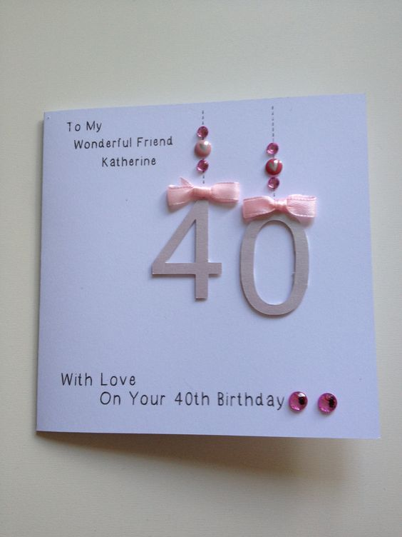 Handmade 40th birthday card for friend. | DIY cards ...