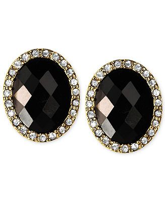 Anne klein gold tone jet stone button earrings sale for Macy s jewelry clearance