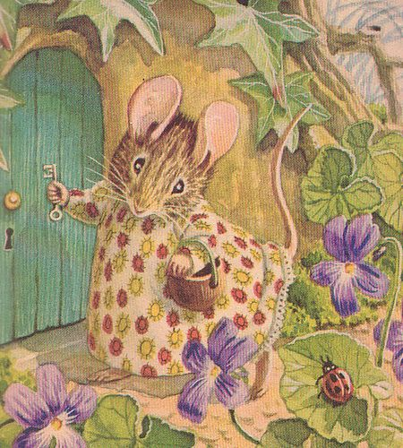 "Beatrix Potter - the original ""Cottage"" Mouse - painted and decorated with gumpaste flowers:"