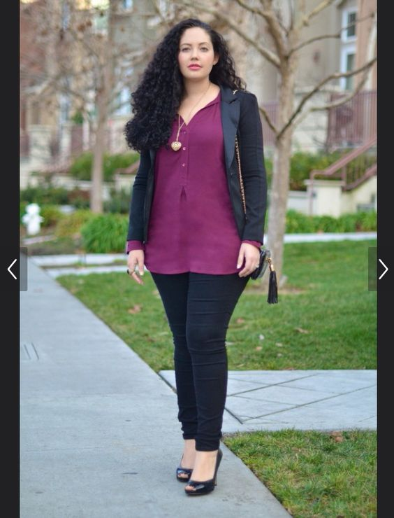 I like this silhouette of skinny jeans with a flowing top and then a more fitted moto jacket over