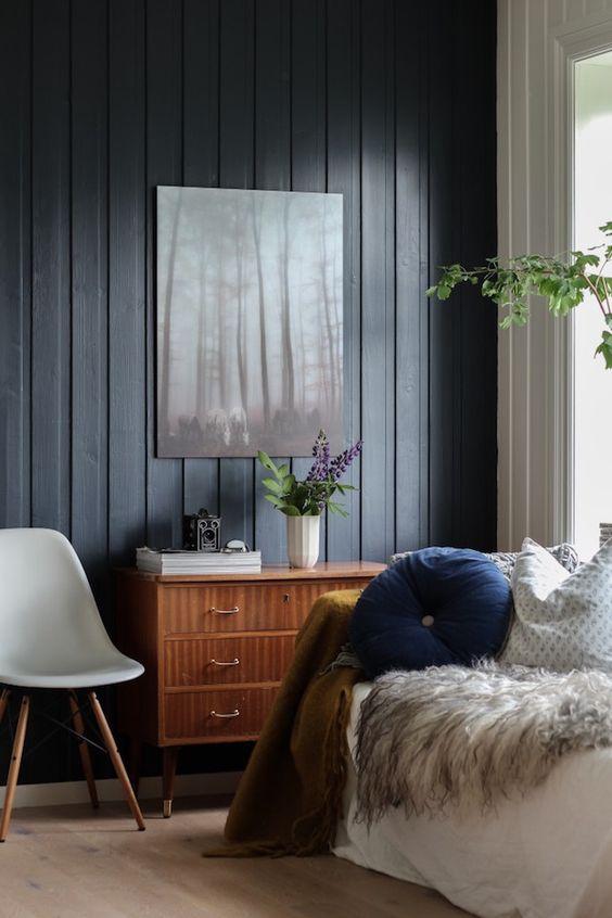 white sofa living room fancy leather sets black shiplap panelling - oleander + palm