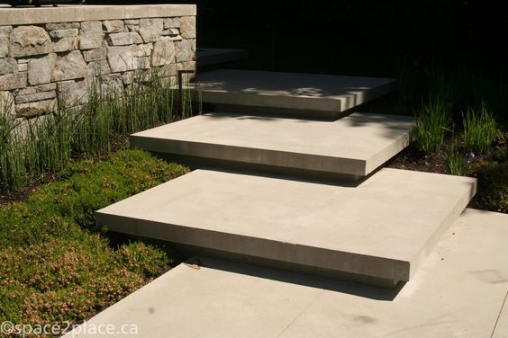 Concrete slab steps details stairs outdoors pinterest walkways platform and dream homes - Slab tuin allee ...