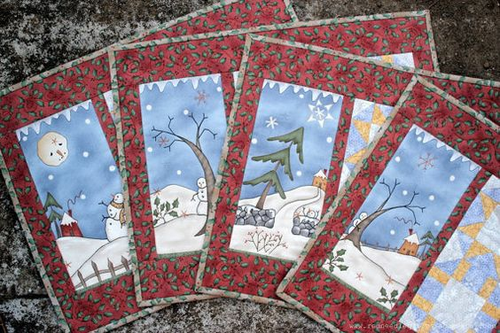 Quilted Christmas Placemats Table Mats Snowman Place