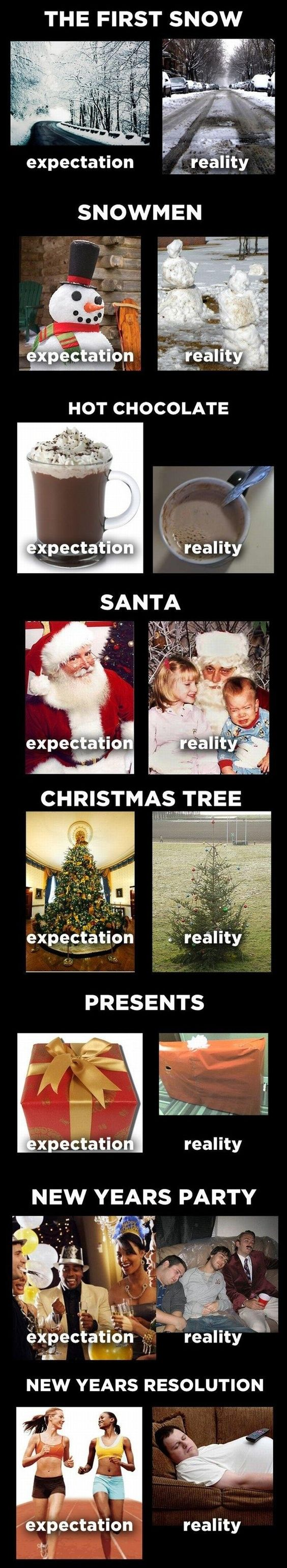 Hahaha, so true. Especially the snow-people one, I made many that looked like this with minimal snow as a kid in OK...: Holiday Expectation, Funny Stuff, So True, Expectation Reality, Expectation Vs Reality, Winter Expectations, Happy Holiday, New Years