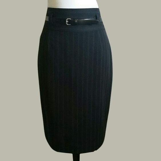 Women's Black and Pink Pinstripe pencil skirt. Size 12