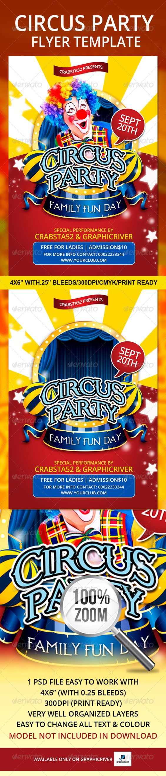 "Circus Party Flyer Template   #GraphicRiver         Circus Party Flyer Template is a very modern psd flyer that will give the perfect promotion for your upcoming event! 1 PSD file 4×6"" size with 0.25"" bleeds Simple and easy to work with CMYK/300dpi and Ready to print Very well organised and layers named appropriately Easy model photo and text replacement Model not included in the final download file, I have setup a layer (in colour Green) where you will insert your model.  Used font…"