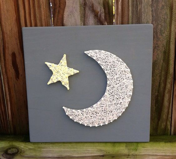 moon and star string art wall art nursery decor art walls the moon and love you to. Black Bedroom Furniture Sets. Home Design Ideas