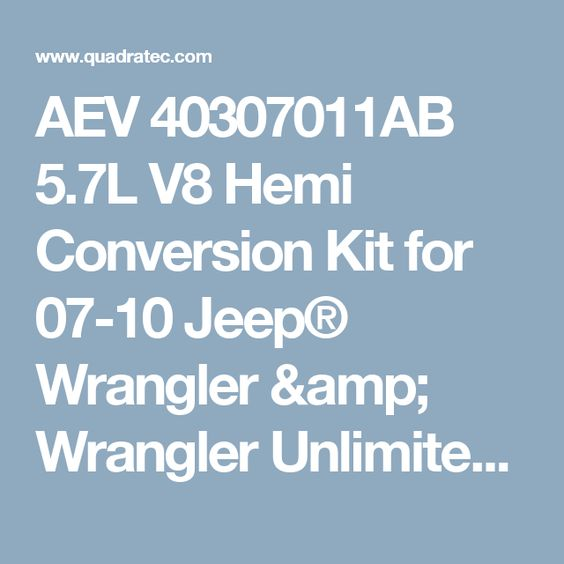 Aev 40307011ab 5 7l V8 Hemi Conversion Kit For 07 10 Jeep