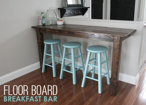 How build a wooden bar, old floor boards were #upcycled to make this rustic breakfast bar