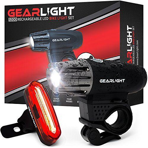 Gearlight S300 Rechargeable Led Bike Light Set High Lumen Front