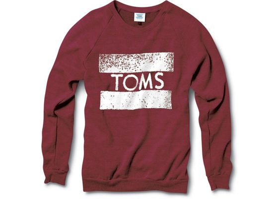 For every purchase, TOMS donates a pair of their shoes to a child without any footwear. This sweatshirt looks big and cozy plus it has a secret pocket!